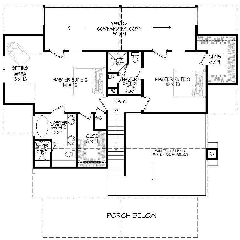 Second level floor plan with two additional primary suites connected by a vaulted balcony.