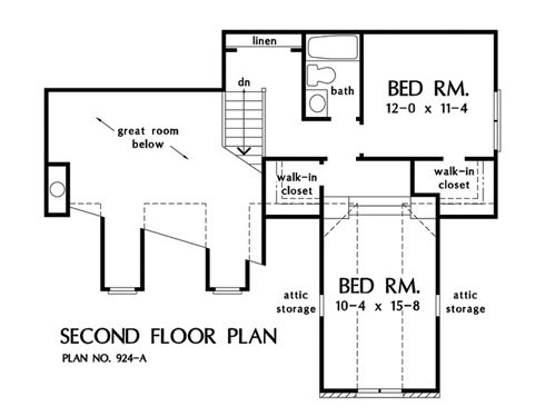 Second level floor plan with linen space and two bedrooms sharing a bath.