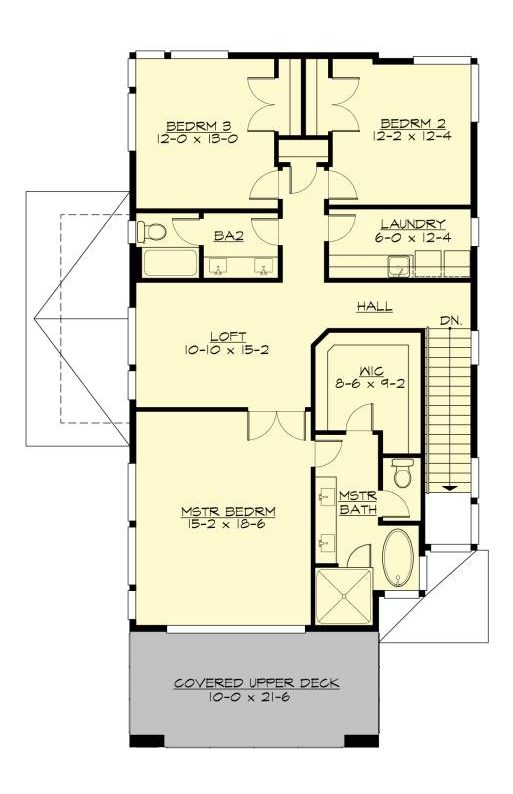 Upper level floor plan with a loft, laundry room, two bedrooms, and a primary suite with a private deck.