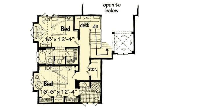 Second level floor plan with a computer nook, storage room, and two bedrooms with their own bathrooms.