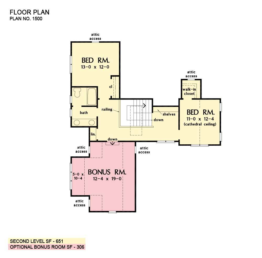 Second level floor plan with two bedrooms and a large bonus room sitting above the garage.