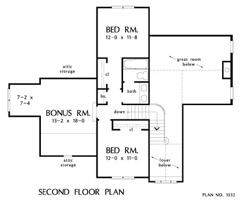 Second level floor plan with a large bonus room and two additional bedrooms sharing a bath.