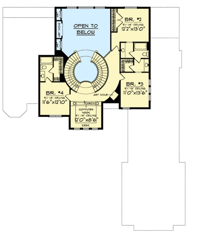 Second level floor plan with three more bedrooms, two baths, a computer nook, and an art niche that adds an instant appeal.