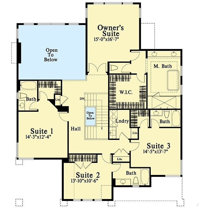 Second level floor plan with four bedroom suites including the primary suite.