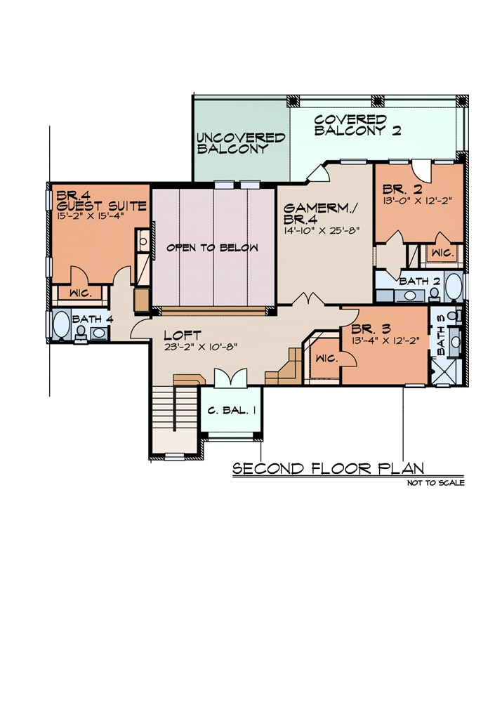 Second level floor plan with three additional bedrooms, a balcony loft, and a game room/bedroom with direct access to the covered balcony.