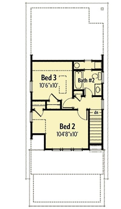 Second level floor plan with two additional bedrooms sharing a bath.