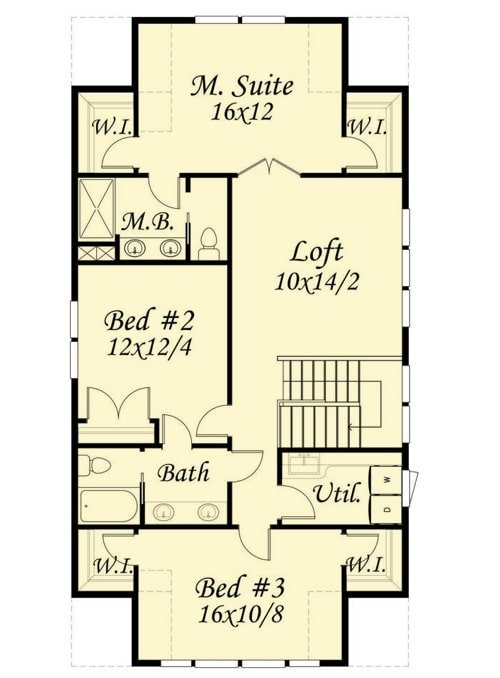 Second level floor plan with a loft, utility, and three bedrooms including the primary suite.