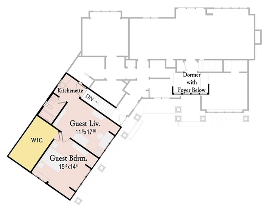 Second level floor plan with guest bedroom, living, and kitchenette sitting above the garage.
