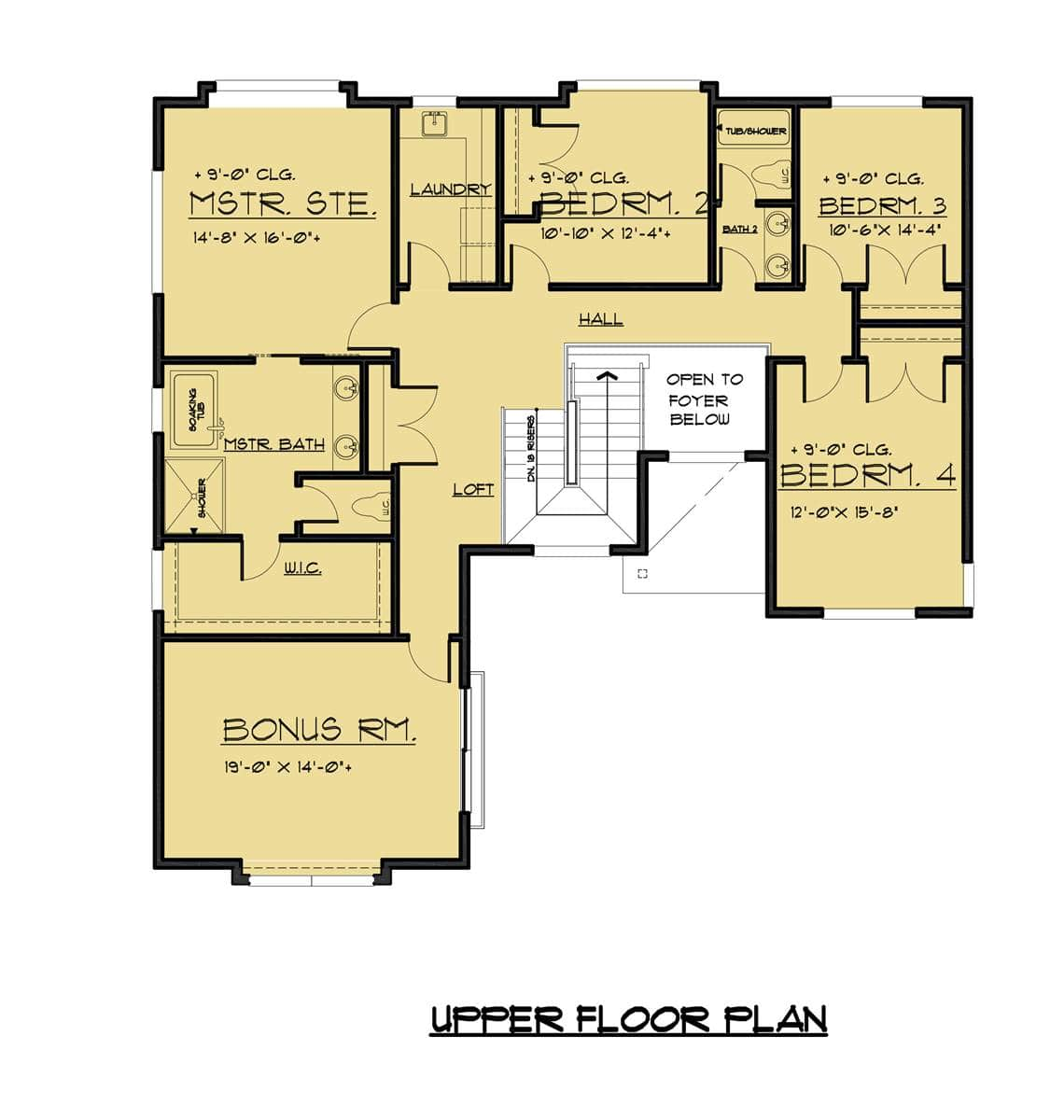 Second level floor plan with a large bonus room and four bedrooms including the primary suite.