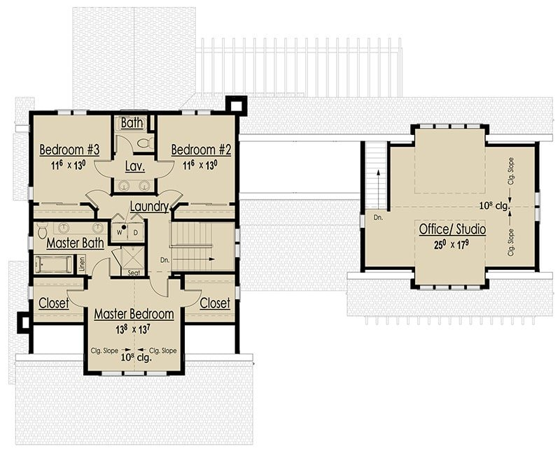 Second level floor plan with laundry room and two bedrooms, primary suite, and a separate office/studio sitting above the garage.