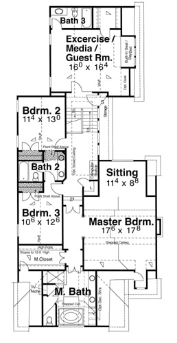 Second level floor plan with three bedrooms, a primary suite, and a flexible space that can be used as an exercise/media/guest room.