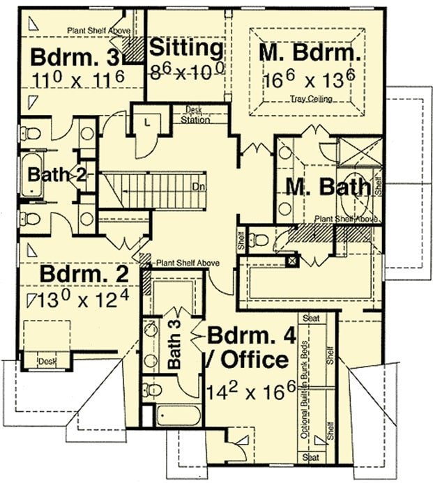 Second level floor plan with four bedrooms including the primary suite and the versatile office/bedroom.