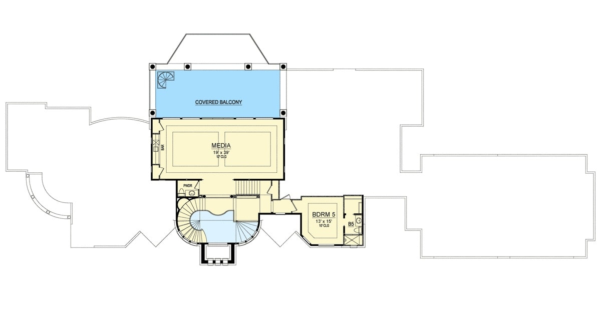 Second level floor plan with another bedroom, a powder room, and a large home theater with a bar and balcony access.