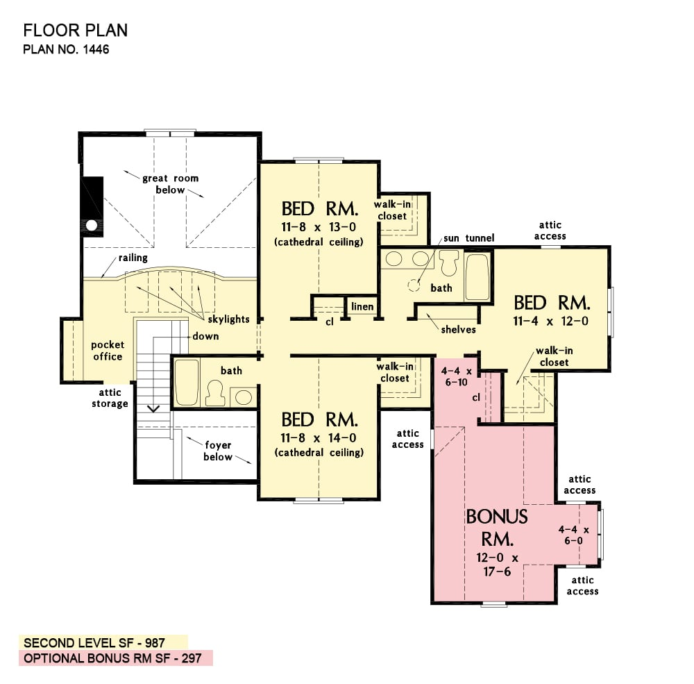Second level floor plan with three more bedrooms, two full baths, a pocket office, and a bonus room above the garage.