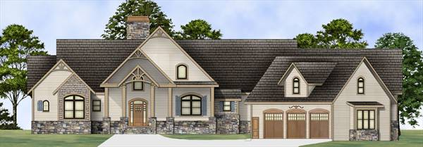 Front rendering of the single-story 3-bedroom Pepperwood home.