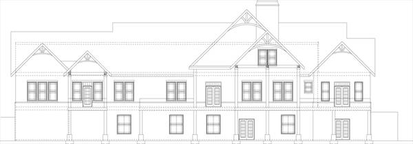 Rear elevation sketch of the single-story 3-bedroom Pepperwood home.