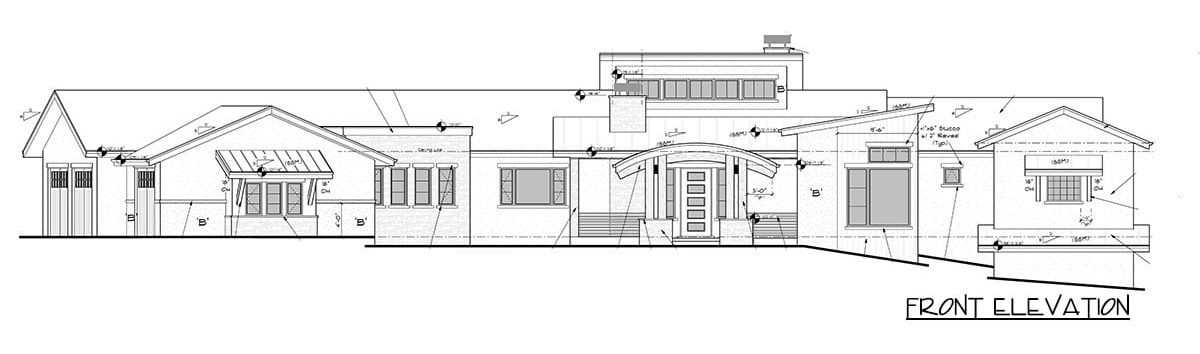 Front elevation sketch of the single-story 4-bedroom mountain home.