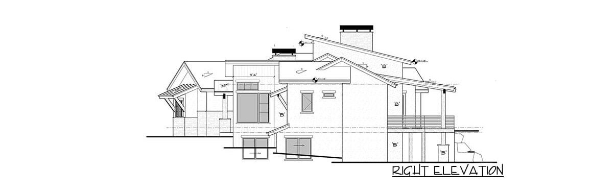 Right elevation sketch of the single-story 4-bedroom mountain home.