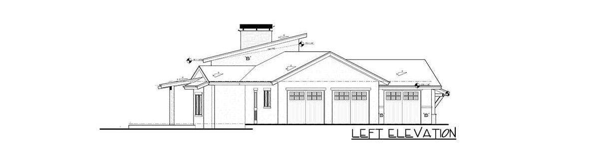 Left elevation sketch of the single-story 4-bedroom mountain home.