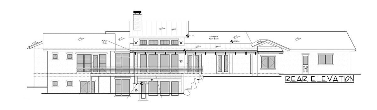 Rear elevation sketch of the single-story 4-bedroom mountain home.