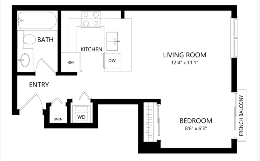 Studio apartment as office