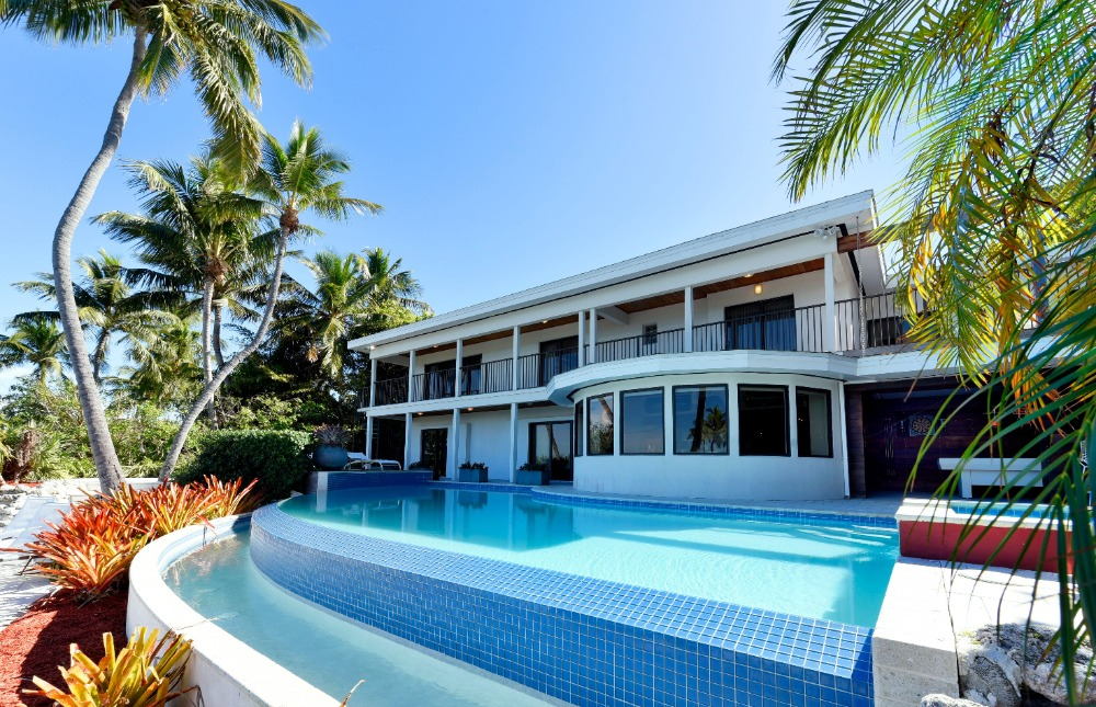 Different view of the house's custom swimming pool surrounded by tropical trees. Image courtesy of Toptenrealestatedeals.com.