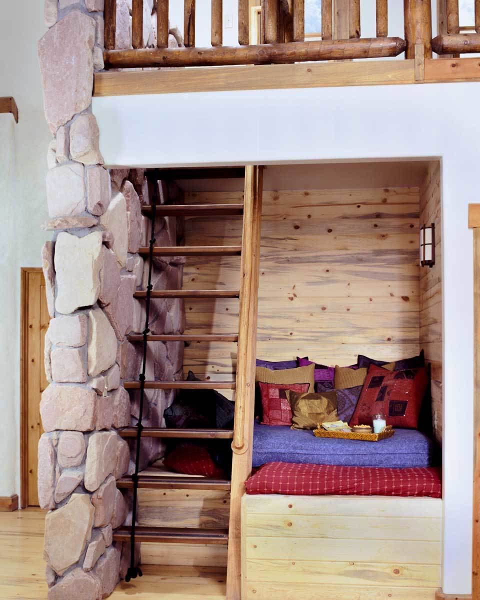 There's also a wooden ladder that leads to the open loft.