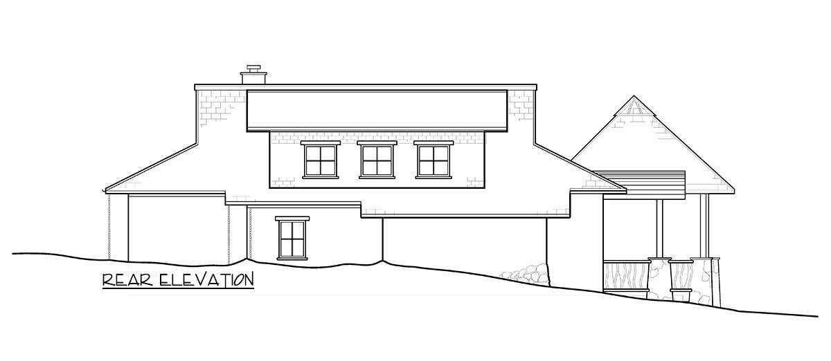 Rear elevation sketch of the two-story 2-bedroom-getaway cabin.