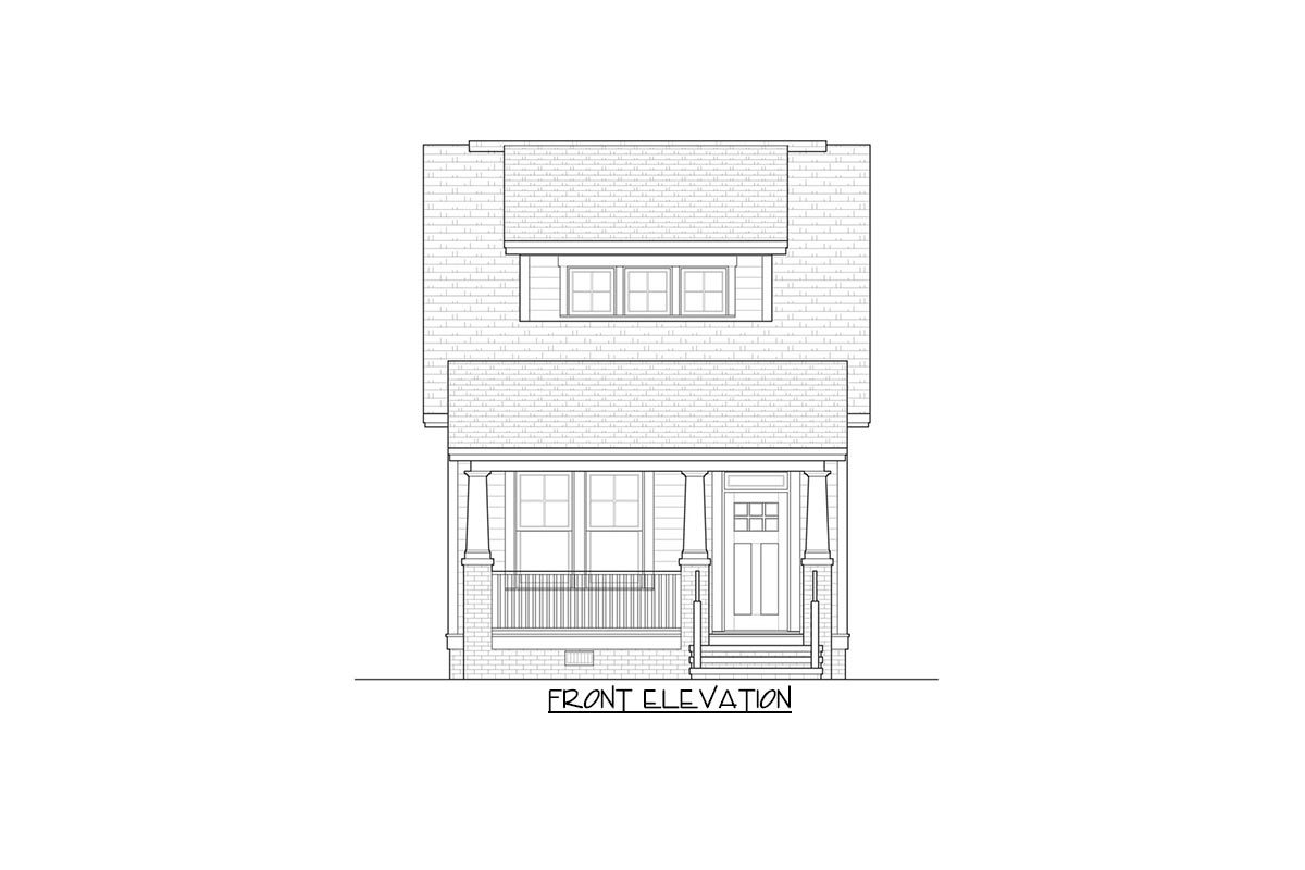 Front elevation sketch of the two-story 3-bedroom bungalow.
