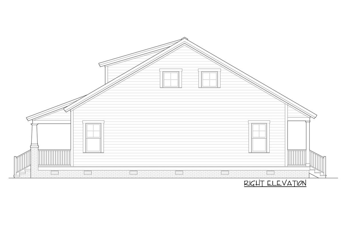 Right elevation sketch of the two-story 3-bedroom bungalow.