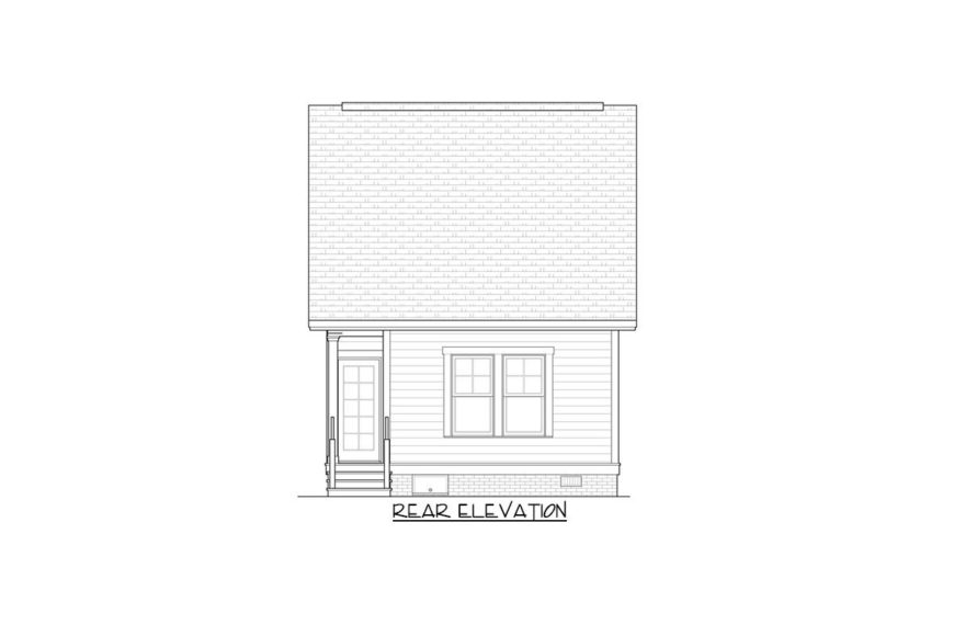 Rear elevation sketch of the two-story 3-bedroom bungalow.