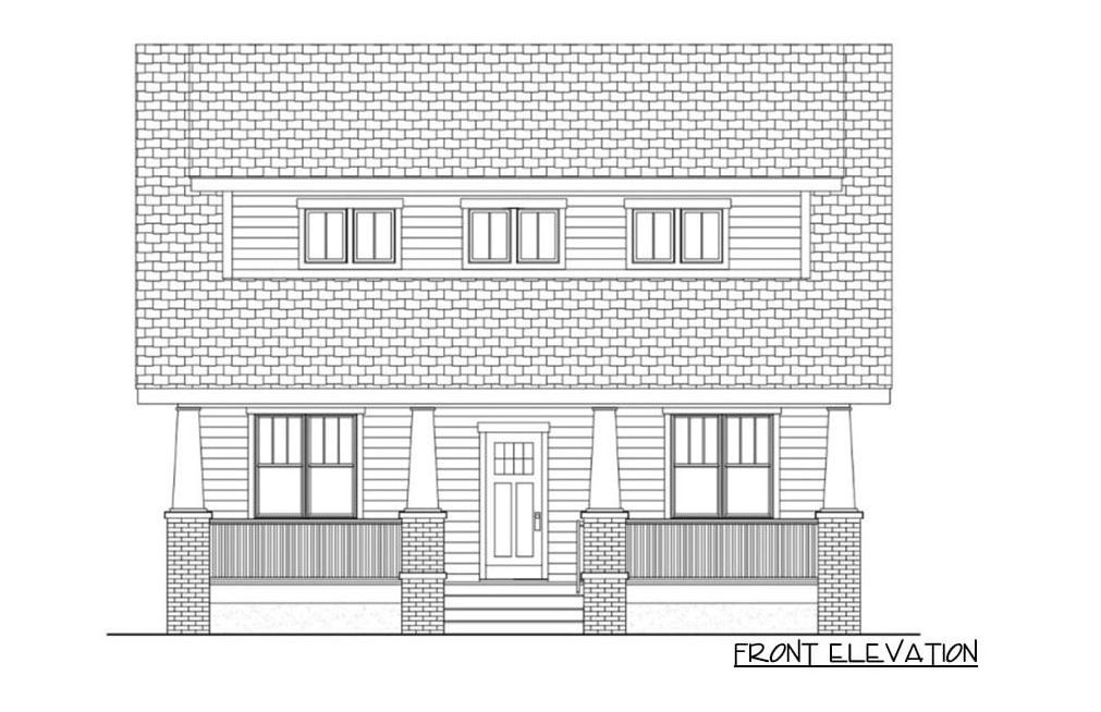 Front elevation sketch of the two-story 4-bedroom cottage home.