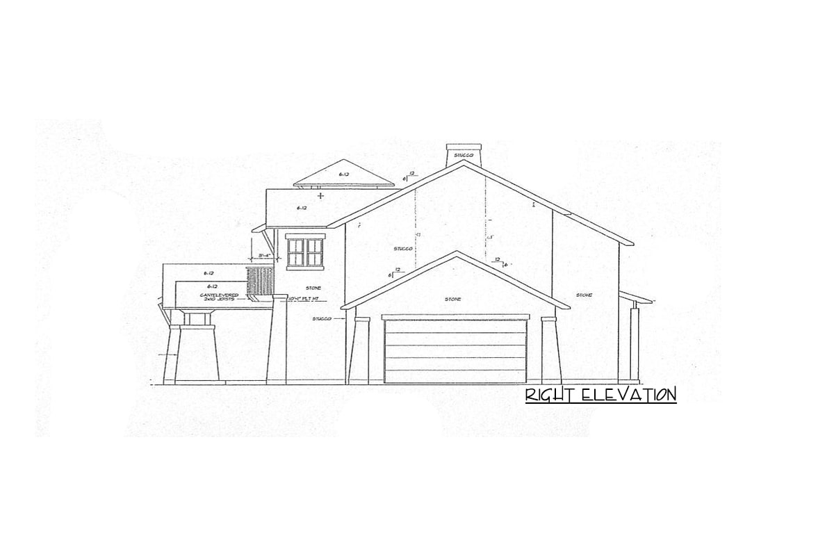 Right elevation sketch of the two-story 4-bedroom courtyard cottage.