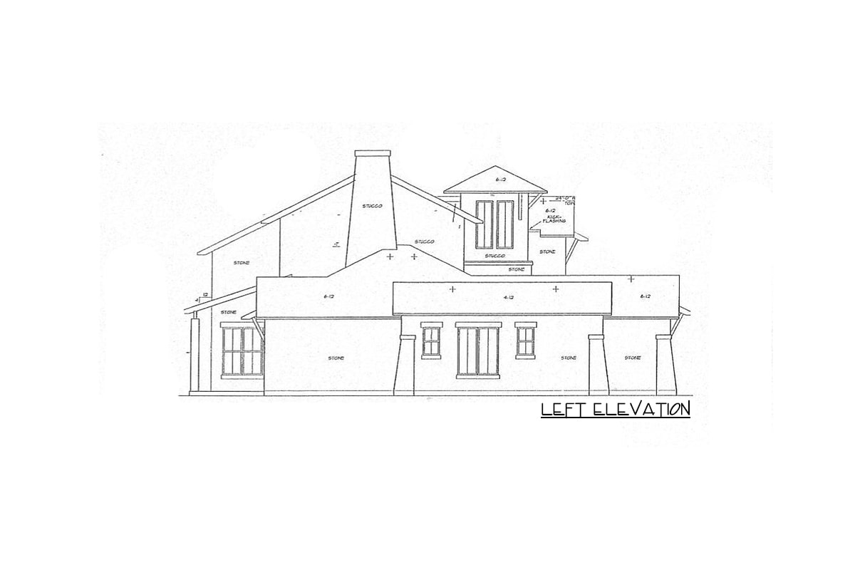 Left elevation sketch of the two-story 4-bedroom courtyard cottage.