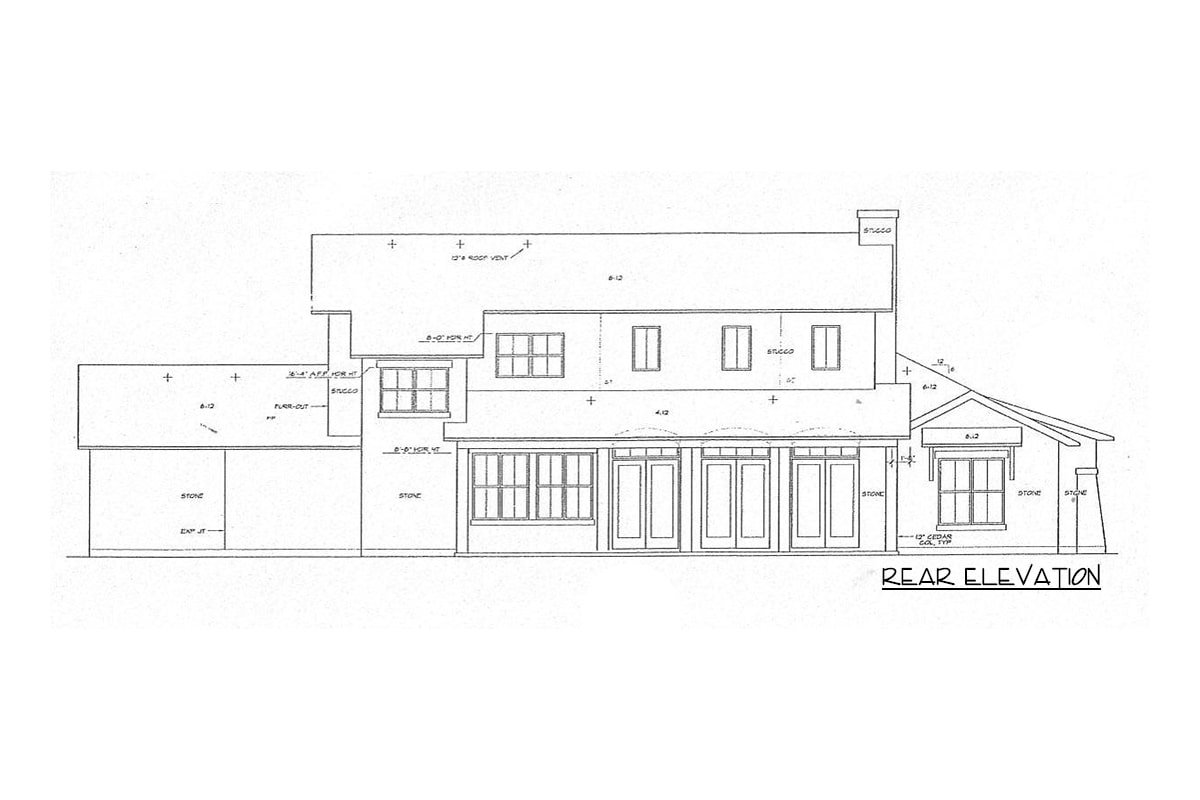 Rear elevation sketch of the two-story 4-bedroom courtyard cottage.