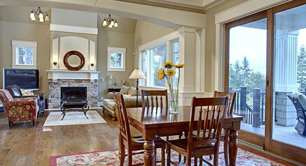 A great view of the living room from the kitchen and breakfast nook.