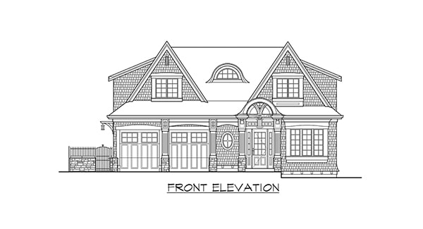 Front elevation sketch of the two-story 4-bedroom Gilroy home.