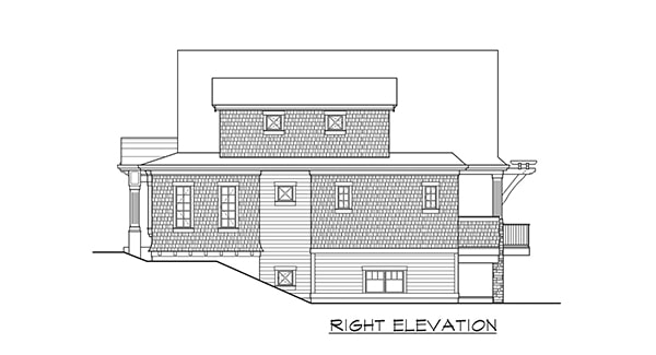 Right elevation sketch of the two-story 4-bedroom Gilroy home.