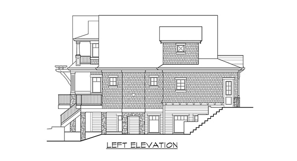 Left elevation sketch of the two-story 4-bedroom Gilroy home.