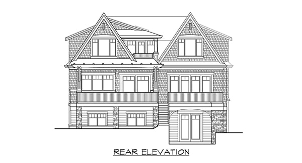 Rear elevation sketch of the two-story 4-bedroom Gilroy home.
