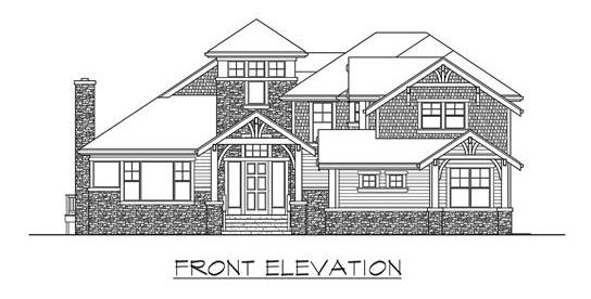 Front elevation sketch of the two-story 4-bedroom Highlands craftsman style home.