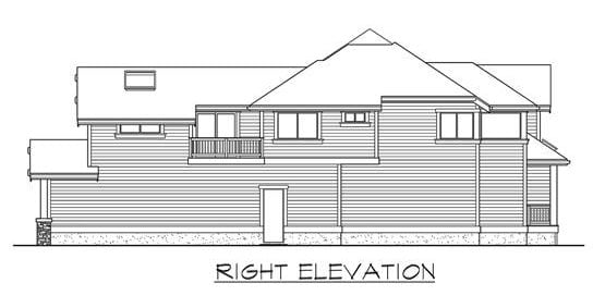 Right elevation sketch of the two-story 4-bedroom Highlands craftsman style home.