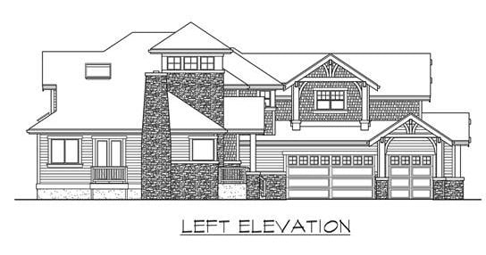 Left elevation sketch of the two-story 4-bedroom Highlands craftsman style home.