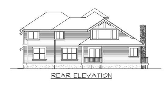 Rear elevation sketch of the two-story 4-bedroom Highlands craftsman style home.