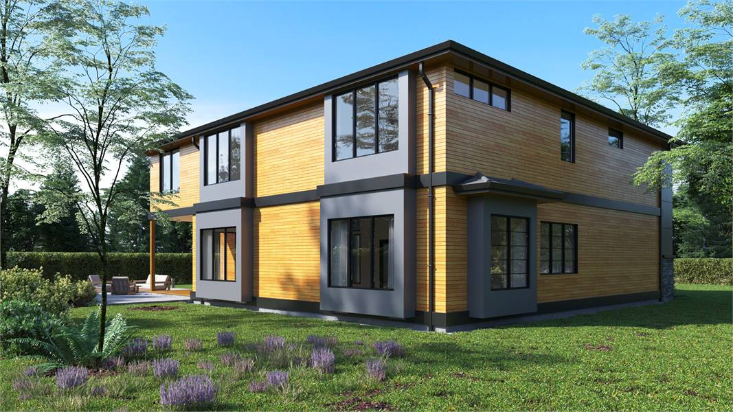 Angled rear view showing the wood cladding, gray exterior walls, and sleek glass windows.