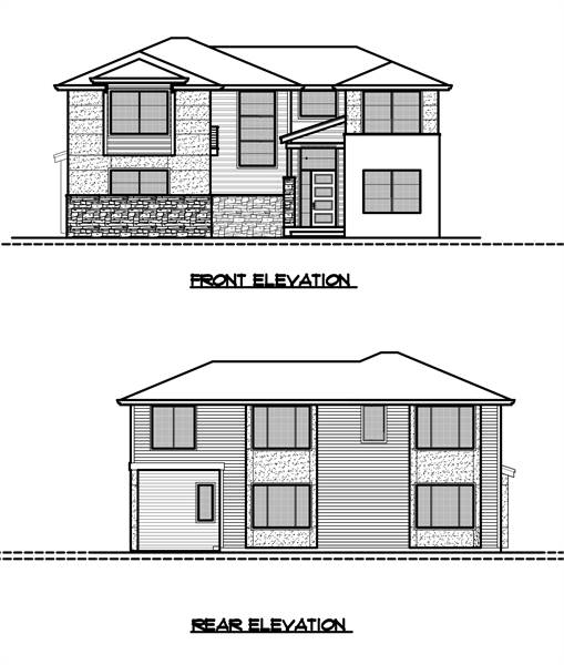 Front and rear elevation sketches of the two-story 4-bedroom modern style home.