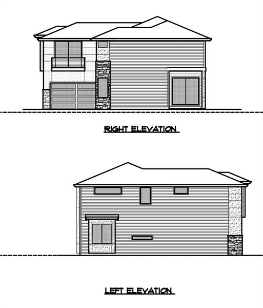 Right and left elevation sketches of the two-story 4-bedroom modern style home.