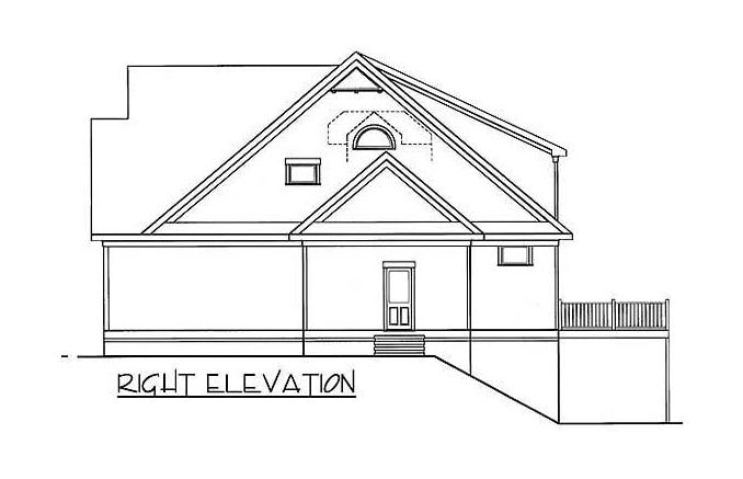 Right elevation sketch of the two-story 5-bedroom bungalow home.