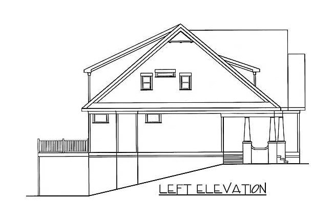 Left elevation sketch of the two-story 5-bedroom bungalow home.