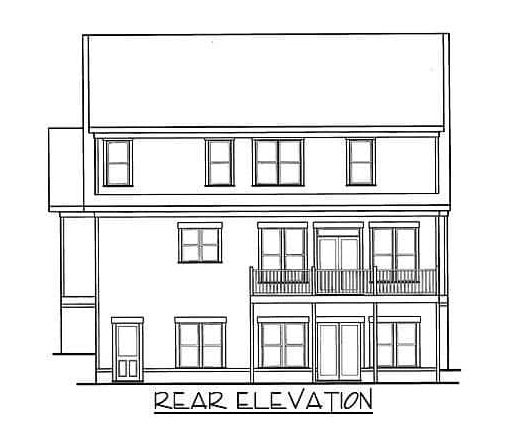 Rear elevation sketch of the two-story 5-bedroom bungalow home.
